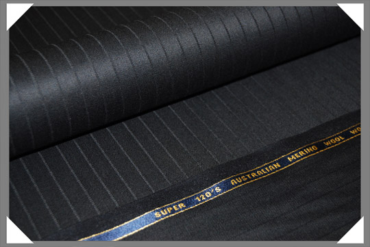 Black Shadow Stripe Super 120's Fabric
