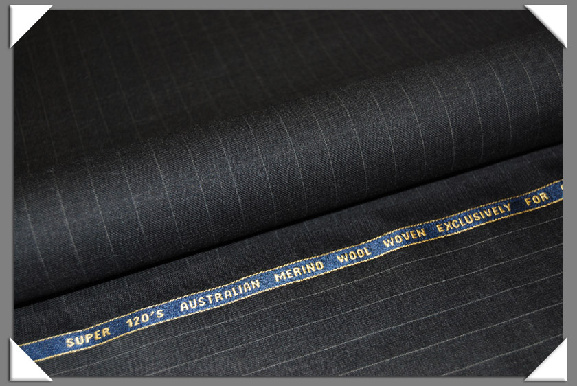 Charcoal Pinstripe Super 120's Fabric