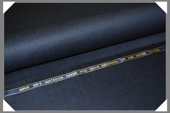 Navy Birdseye Super 120's Fabric