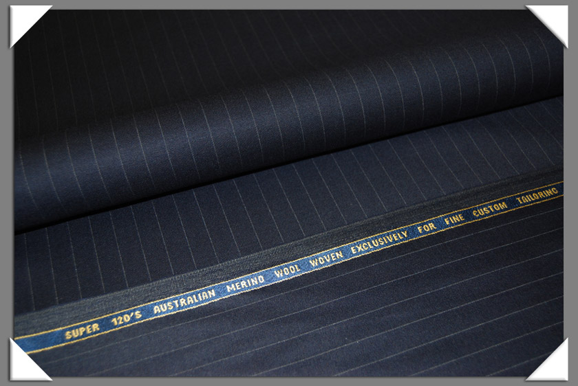 Navy Pinstripe Super 120's Fabric