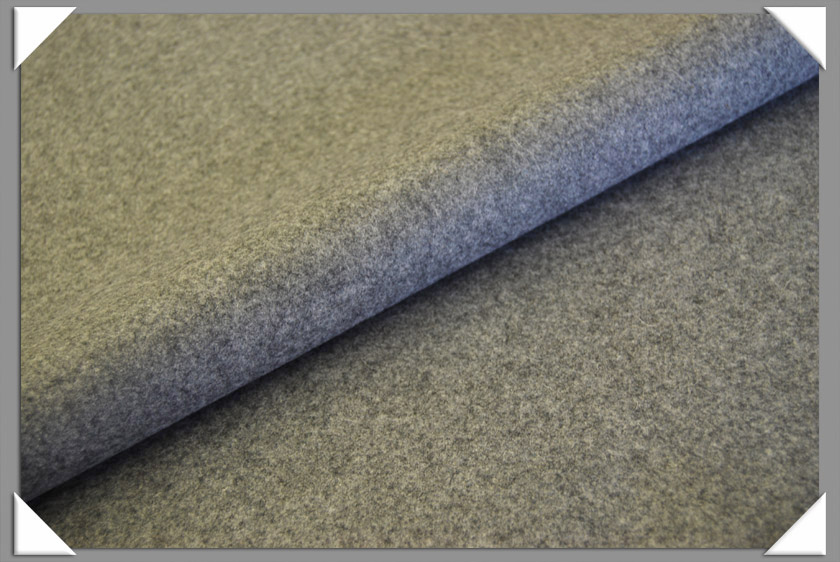 Medium Grey Heathered Wool/Nylon Melton Fabric