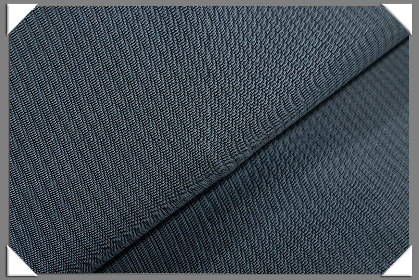Blue/Grey Vegan Herringbone Fabric