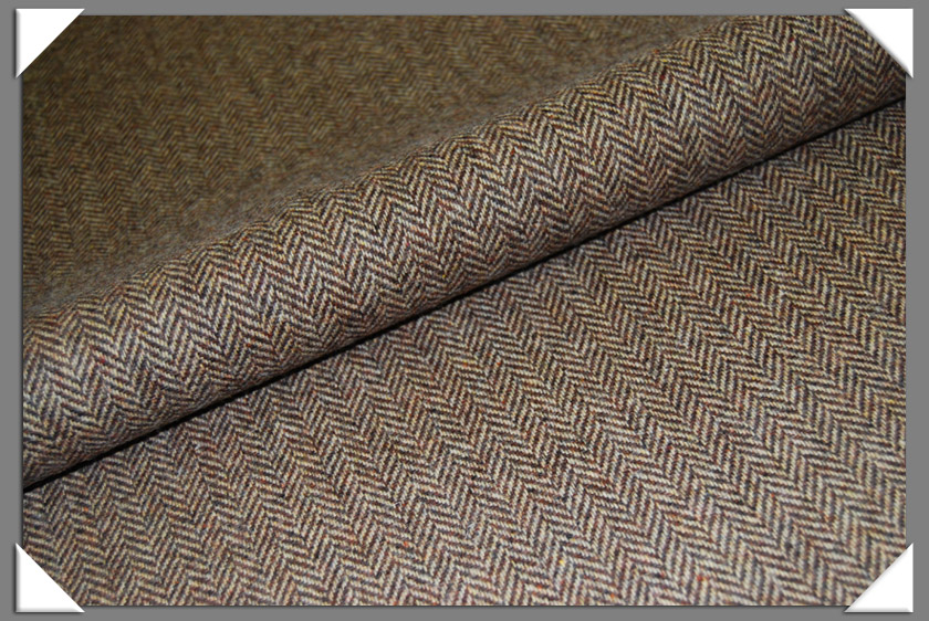 Brown & Tan Herringbone Tweed Fabric