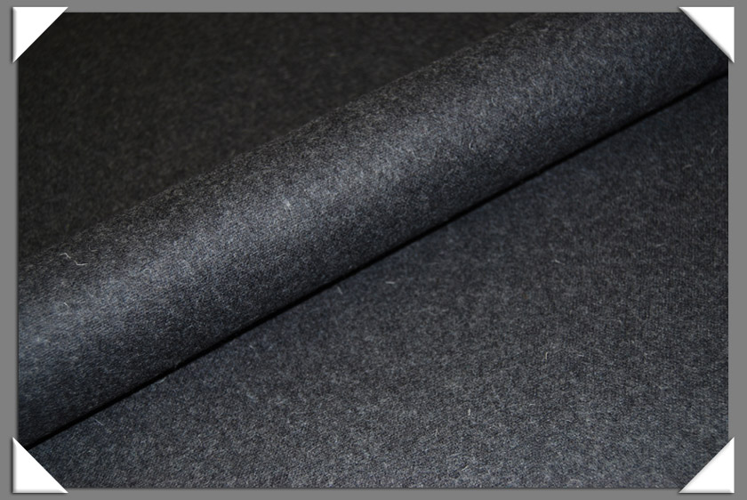 Dark Grey Heathered Wool/Nylon Melton Fabric