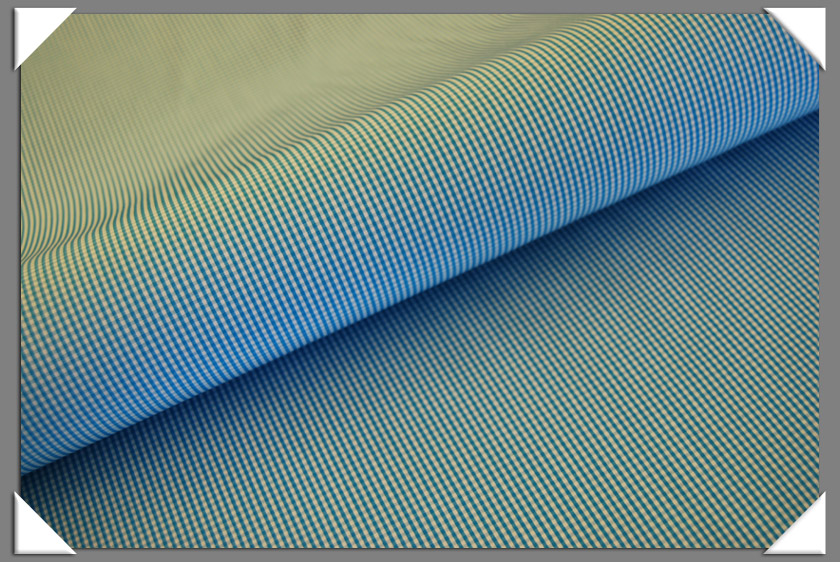 Mini Gingham Shirting Fabric - Aqua
