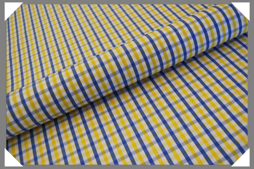Yellow & Blue Check Shirting Fabric