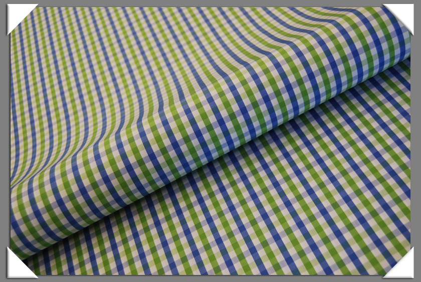 Green & Blue Check Shirting Fabric