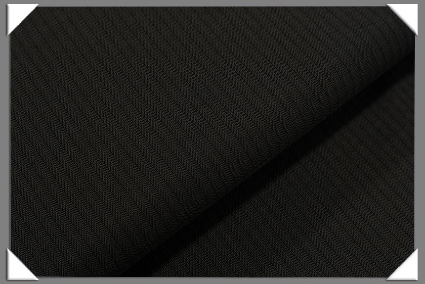Black Vegan Herringbone Fabric