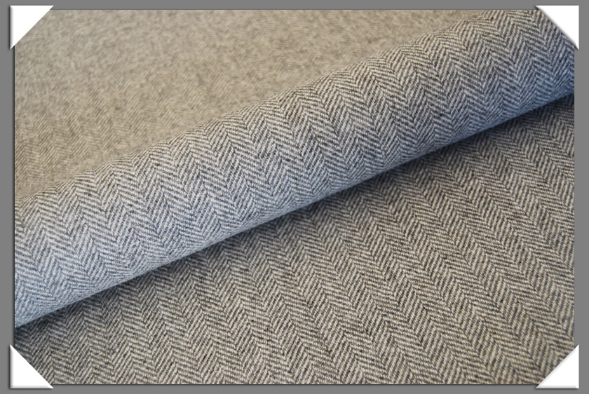 Grey & White Herringbone Tweed Fabric