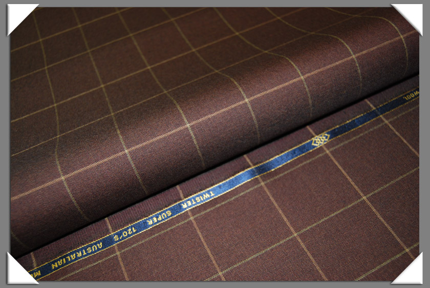 Brown Windowpane Super 120's Fabric