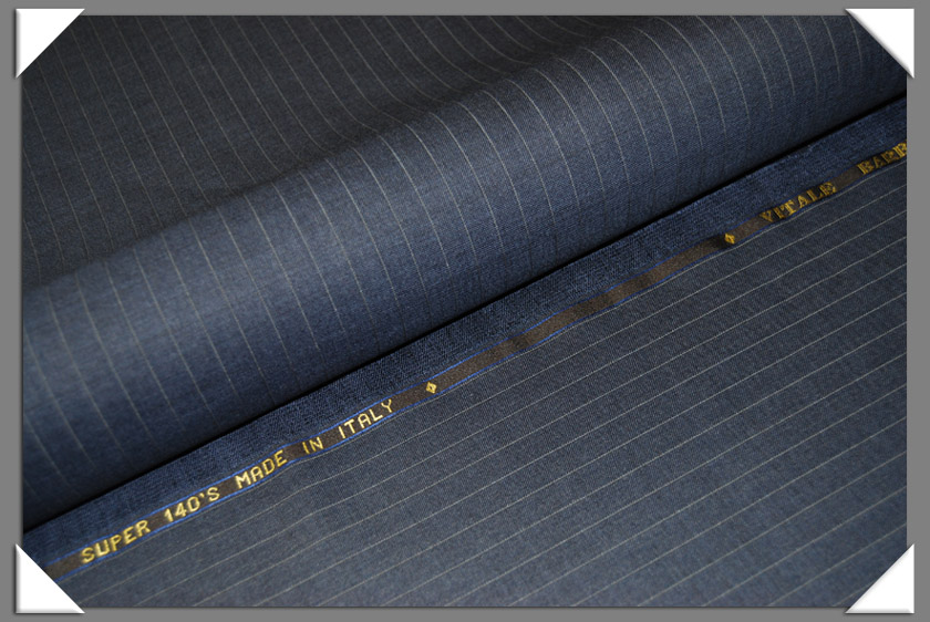 Blue Pinstripe Wool Suiting Fabric