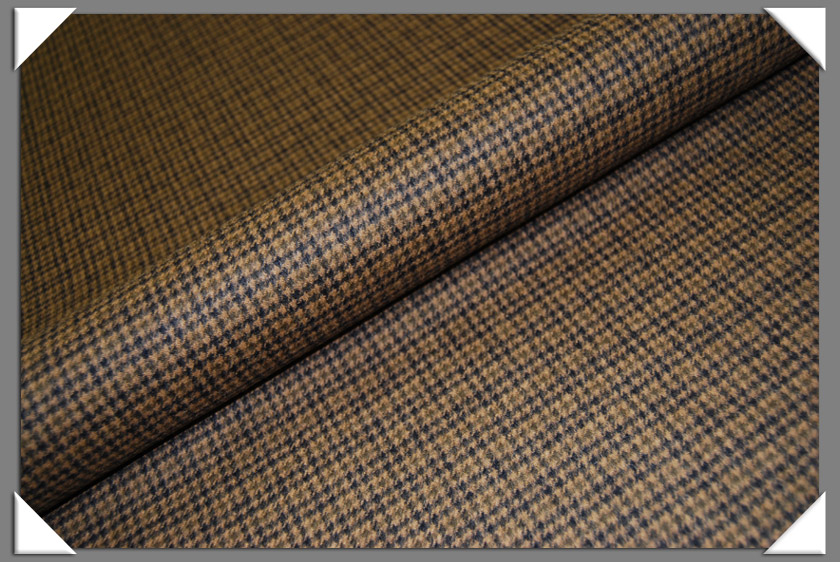 Camel Hair Fabric - Brown Houndstooth