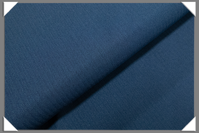 Blue Vegan Herringbone Fabric
