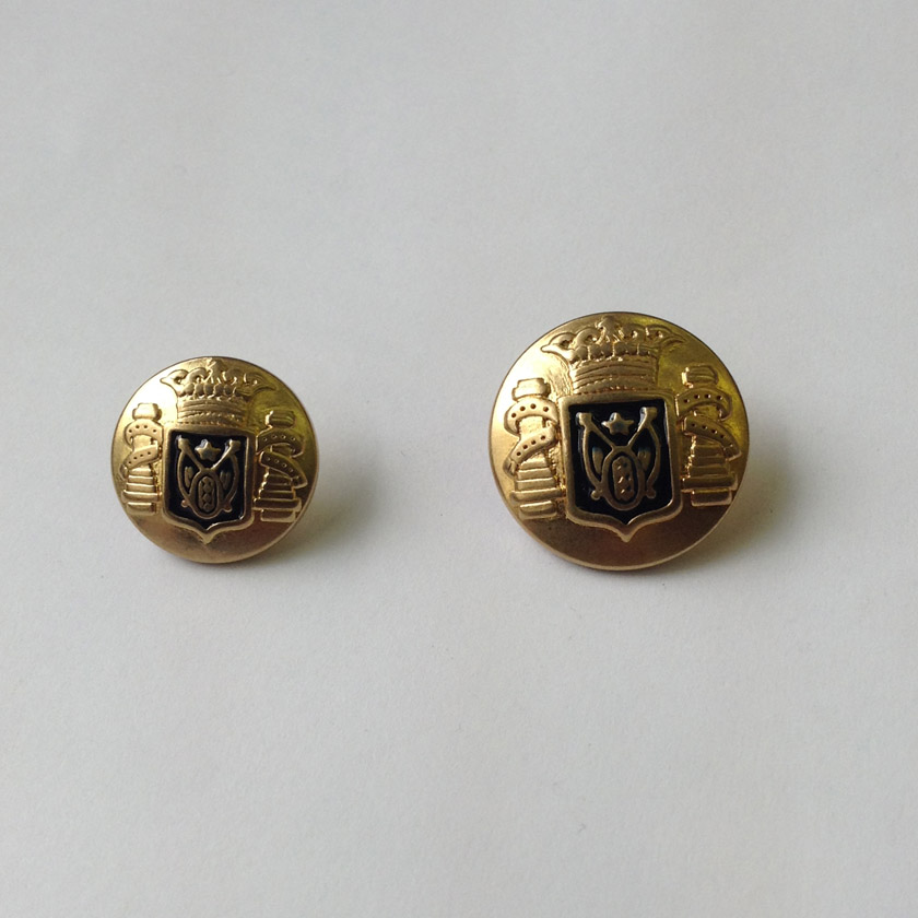 Gold Crown Black Crest Metal Button